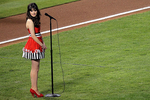 Zooey Deschanel Sings National Anthem at World Series