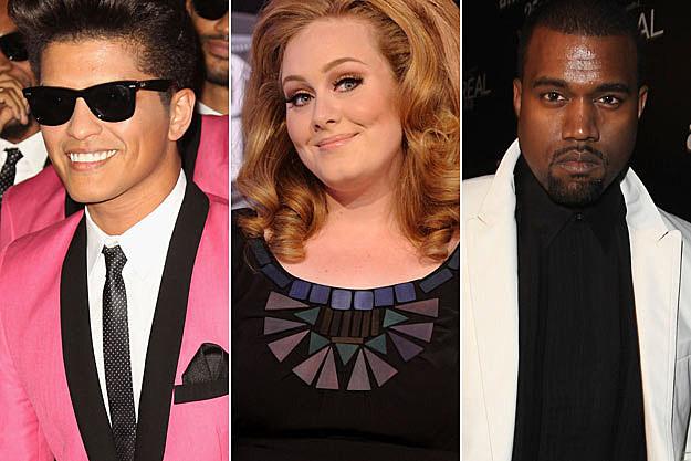 Bruno Mars Adele Kanye West