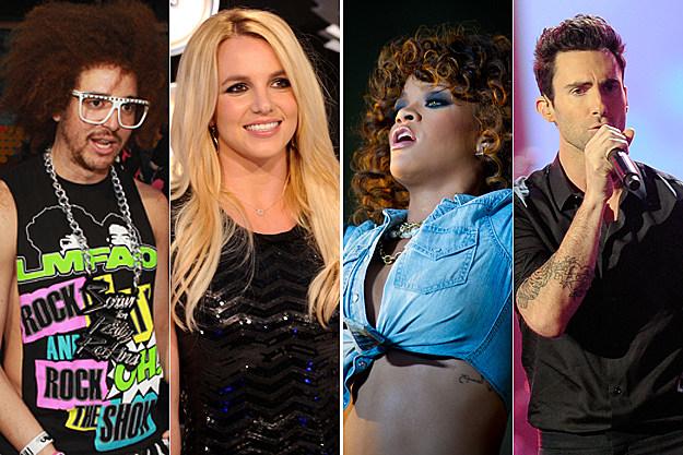 LMFAO, Britney Spears, Rihanna, Adam Levine