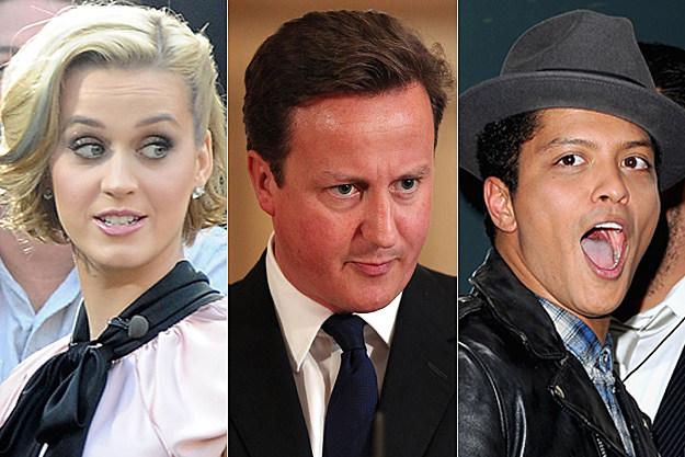 Katy Perry, David Cameron, Bruno Mars