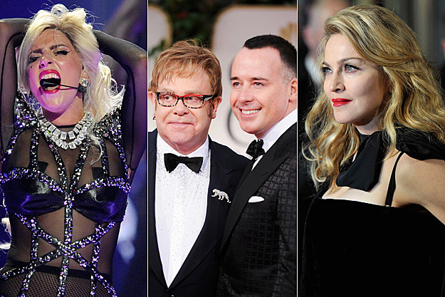 Lady Gaga, Elton John, David Furnish, Madonna