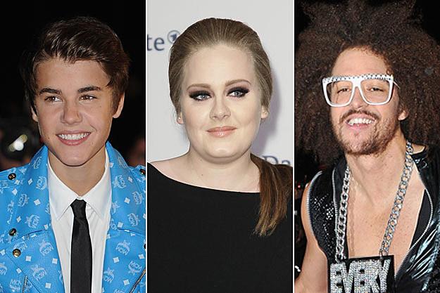 Justin Bieber Adele LMFAO