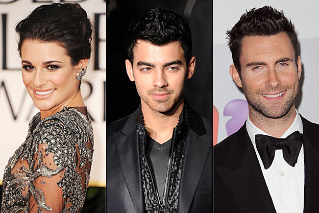 Lea Michele, Joe Jonas, Adam Levine