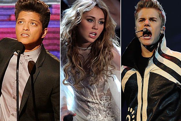 Bruno Mars Miley Cyrus Justin Bieber