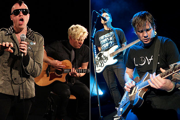 Tyler Glenn and Branden Campbell of Neon Trees, Tom DeLonge and Mark Hoppus of Blink 182
