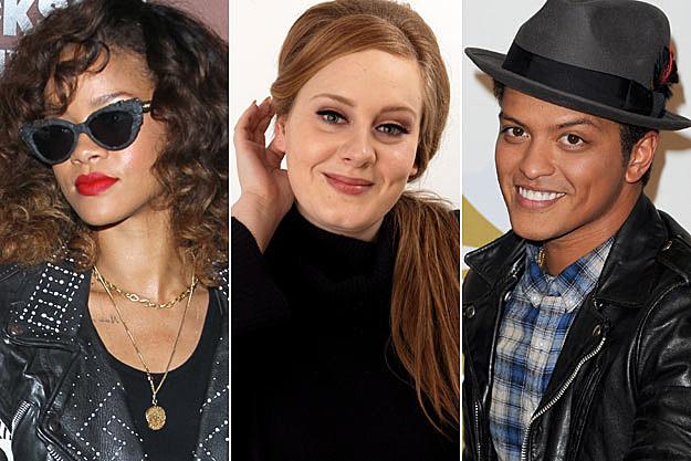 Rihanna Adele Bruno Mars