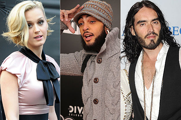 Katy Perry, Travie McCoy, Russell Brand