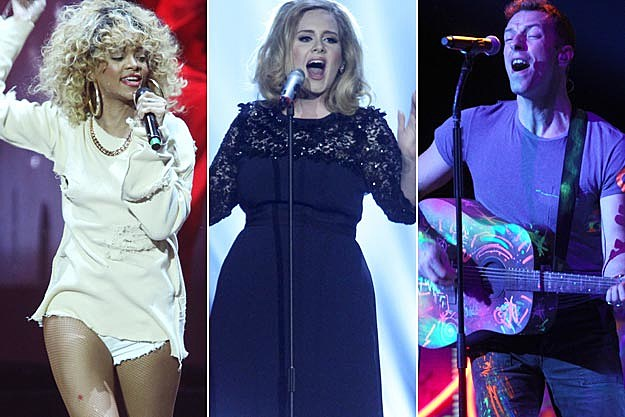 Rihanna Adele Chris Martin of Coldplay