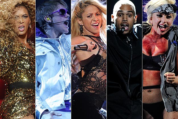 Beyonce Justin Bieber Shakira Chris Brown Lady Gaga