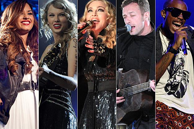 Demi Lovato Taylor Swift Madonna Chris Martin of Coldplay BoB