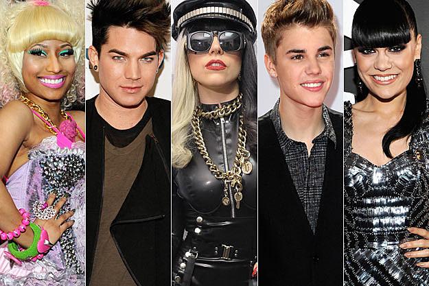 Nicki Minaj Adam Lambert Lady Gaga Justin Bieber Jessie J