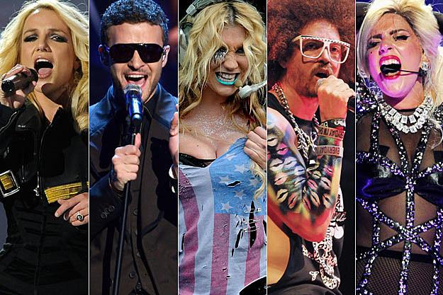 Britney Spears Justin Timberlake Kesha Redfoo of LMFAO Lady Gaga