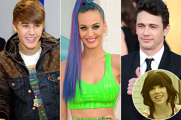 Justin Bieber Katy Perry James Franco Carly Rae Jepsen