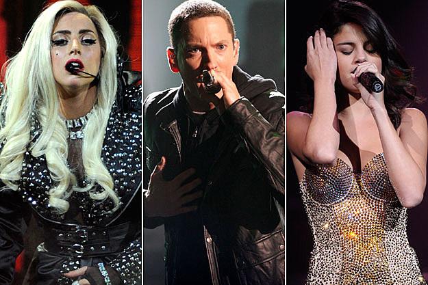 Lady Gaga Eminem Selena Gomez