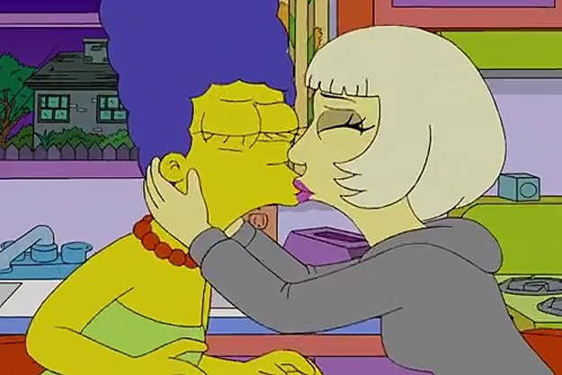 simpsons marge kissing naked