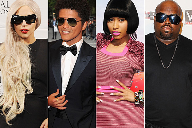 Lady Gaga Bruno Mars Nicki Minaj Cee Lo Green