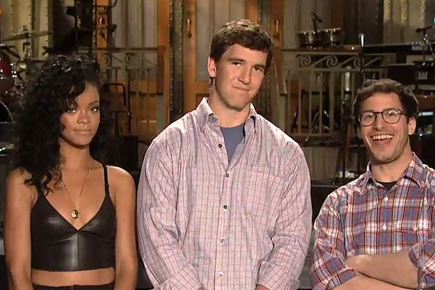 Rihanna Eli Manning Andy Samberg SNL Promo