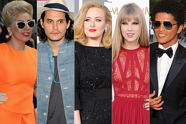 Lady Gaga John Mayer Adele Taylor Swift Bruno Mars