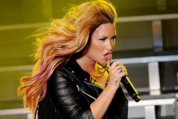 Rita Ora Hair Singer Dyes Her Blue Hair Yellow: Demi Lovato Rocks Blue + Green Dip-Dye Ends