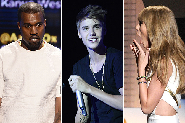 Kanye West Justin Bieber Taylor Swift