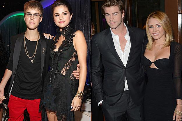 Justin Bieber Selena Gomez Liam Hemsworth Miley Cyrus
