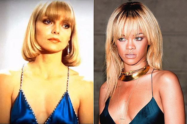 Michelle Pfeiffer in 'Scarface,' Rihanna