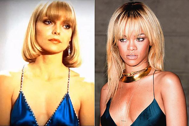 Michelle Pfeiffer in 'Scarface,' Rihanna