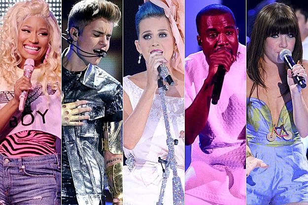 Nicki Minaj Justin Bieber Katy Perry Kanye West Carly Rae Jepsen