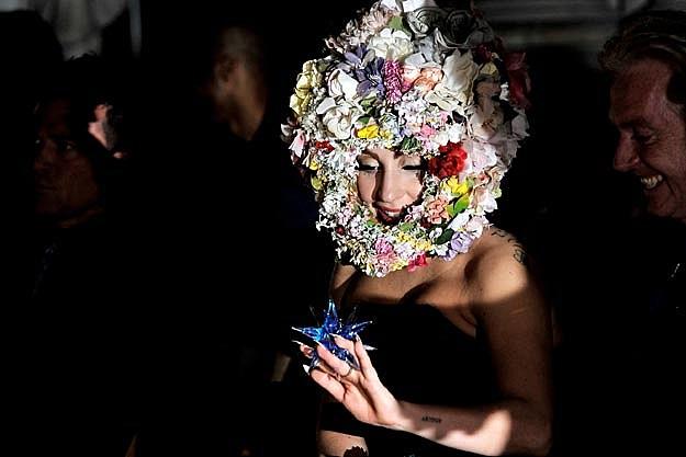 Lady Gaga Models Flower Headpiece at Philip Treacy Fashion Show
