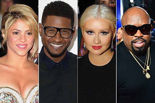 Shakira Usher Christina Aguilera Cee Lo Green