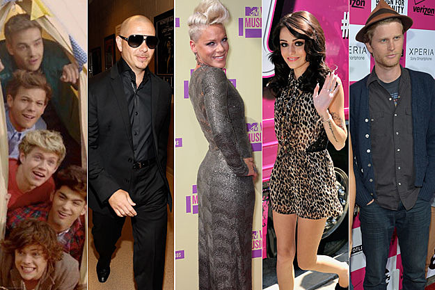 One Direction Pitbull Pink Cher Lloyd Wesley Schultz of the Lumineers