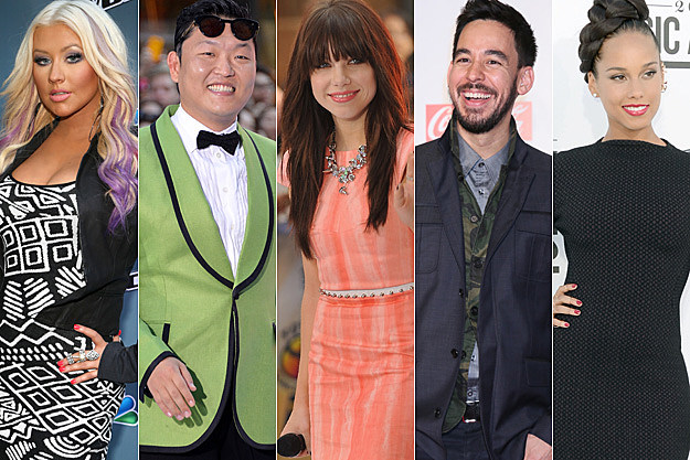 Christina Aguilera PSY Carly Rae Jepsen Mike Shinoda Alicia Keys