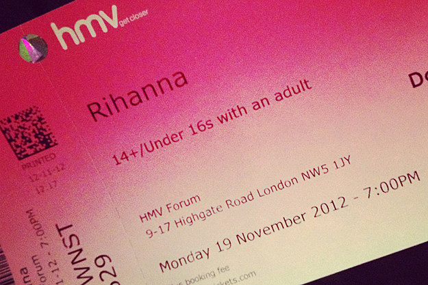 Rihanna HMV Ticket London