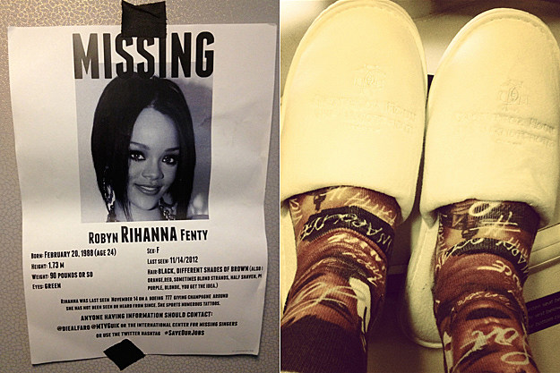 Rihanna Missing Ad Slippers London