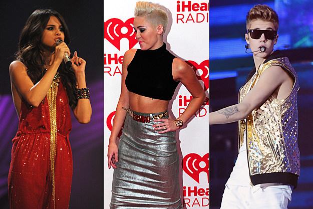 Selena Gomez Miley Cyrus Justin Bieber
