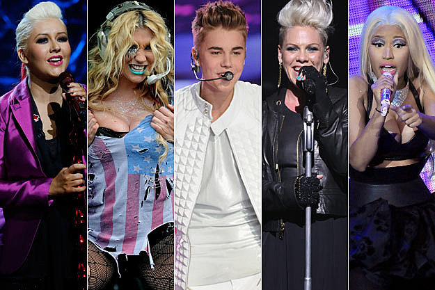 Christina Aguilera Kesha Justin Bieber Pink Nicki Minaj