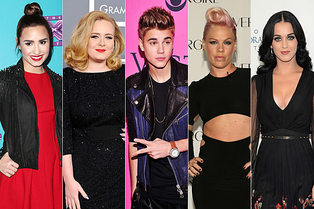 Demi Lovato Adele Justin Bieber Pink Katy Perry
