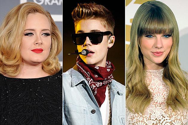 Adele Justin Bieber Taylor Swift
