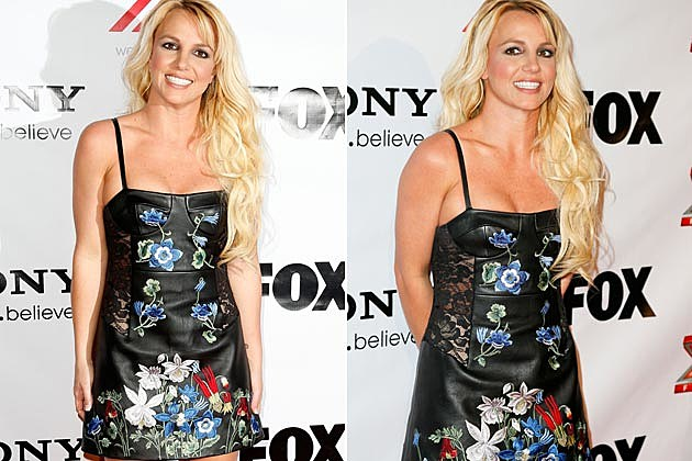 Britney Spears Spills Out of Leather Dress at 'X Factor' Viewing Party