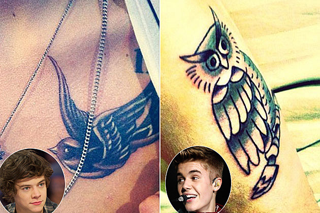 Harry Styles Justin Bieber Bird Tattoos