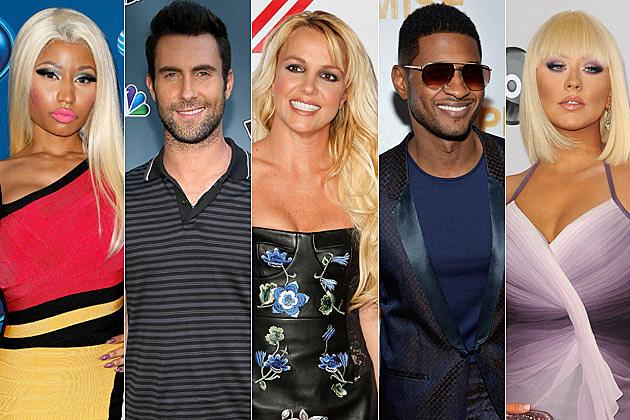 Nicki Minaj Adam Levine Britney Spears Usher Christina Aguilera