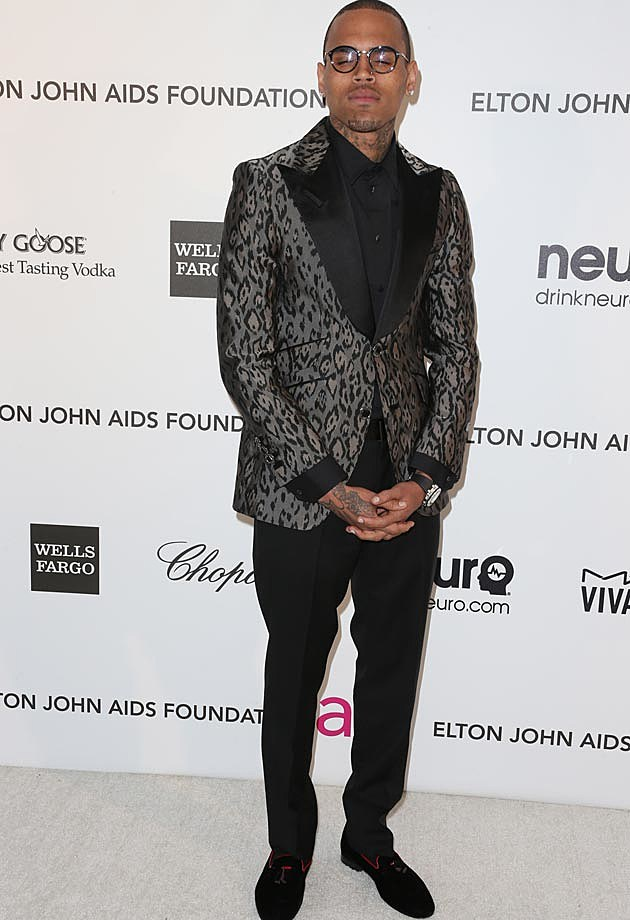 Chris Brown Elton John 2013 Oscar Party