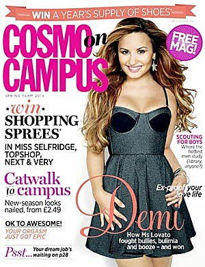 Demi Lovato Cosmo on Campus Cover