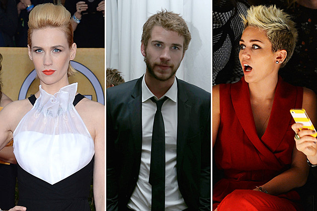 January Jones Liam Hemsworth Miley Cyrus Oscars 2013