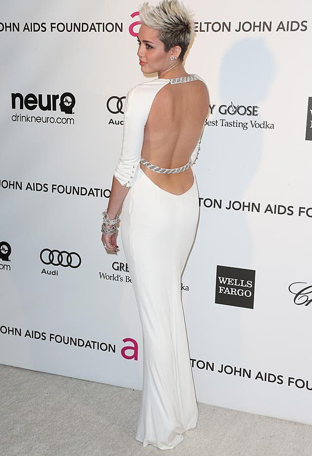 Miley Cyrus Azzaro Elton John Oscar Party 2013