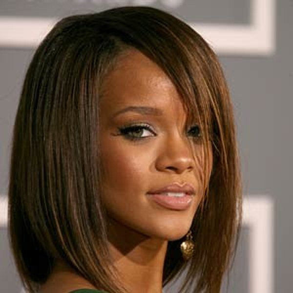 angled brown bob � best rihanna hairstyle