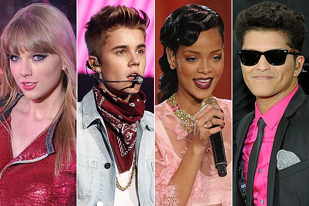Taylor Swift Justin Bieber Rihanna Bruno Mars