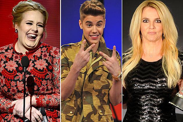 Adele Justin Bieber Britney Spears