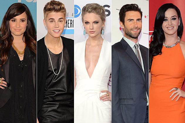 Demi Lovato Justin Bieber Taylor Swift Adam Levine Katy Perry