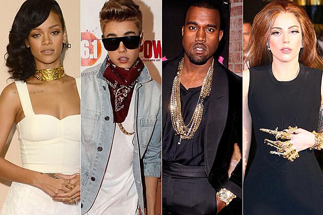 Rihanna Justin Bieber Kanye West Lady Gaga